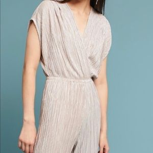 NWT Anthropologie gold jumpsuit